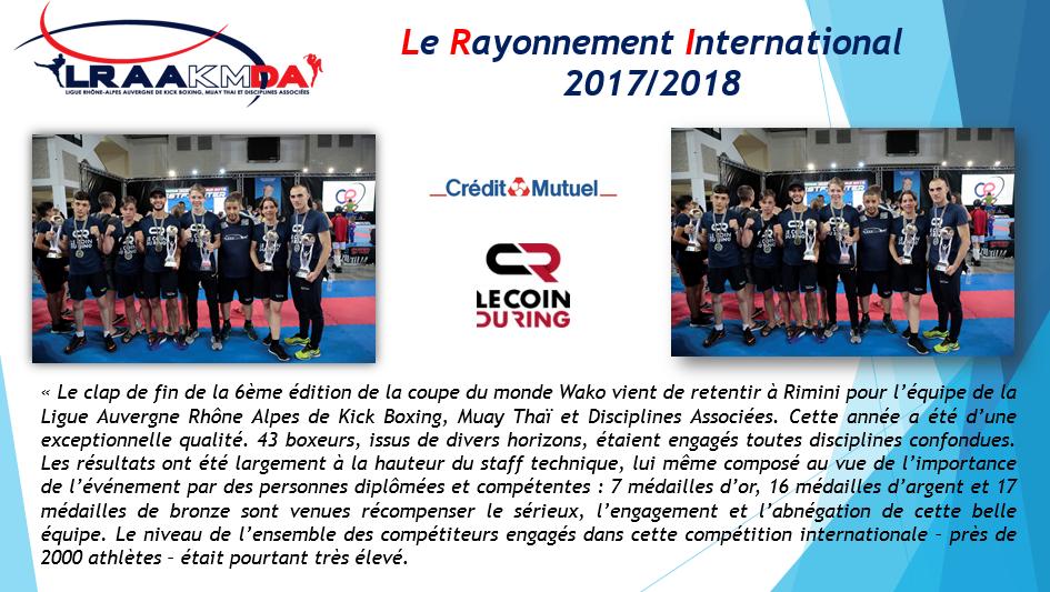 Le Rayonnement International 2017 / 2018